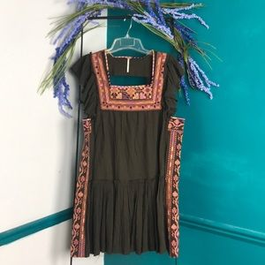 Free people olive green embroidered mini dress